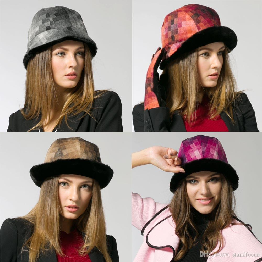 Stand Focus Women Mosaic Cloche Bucket Bell Shape Hat Cap Ladies Fashion Tweed Faux Fur Fall Winter Thick Warm Stylish