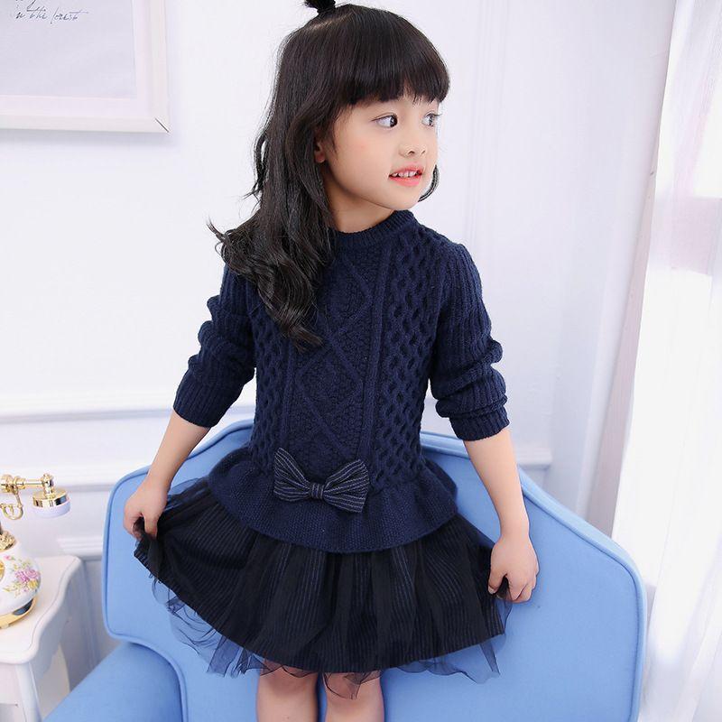 5a6fbefcb0c5 Pullover Kleid Frühling Kinder Mädchen Kleider Baby Mädchen Tüll Spitze  TUTU Winter Prinzessin Pullover Pullover Kleid