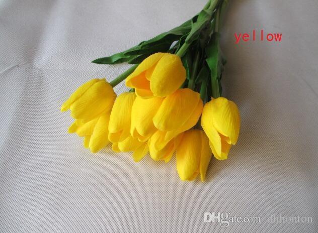 Élégant tulipe soie fleur bouquet fleur artificielle PU unique fleur artificielle artificielle en cas de mariage décoration PU202