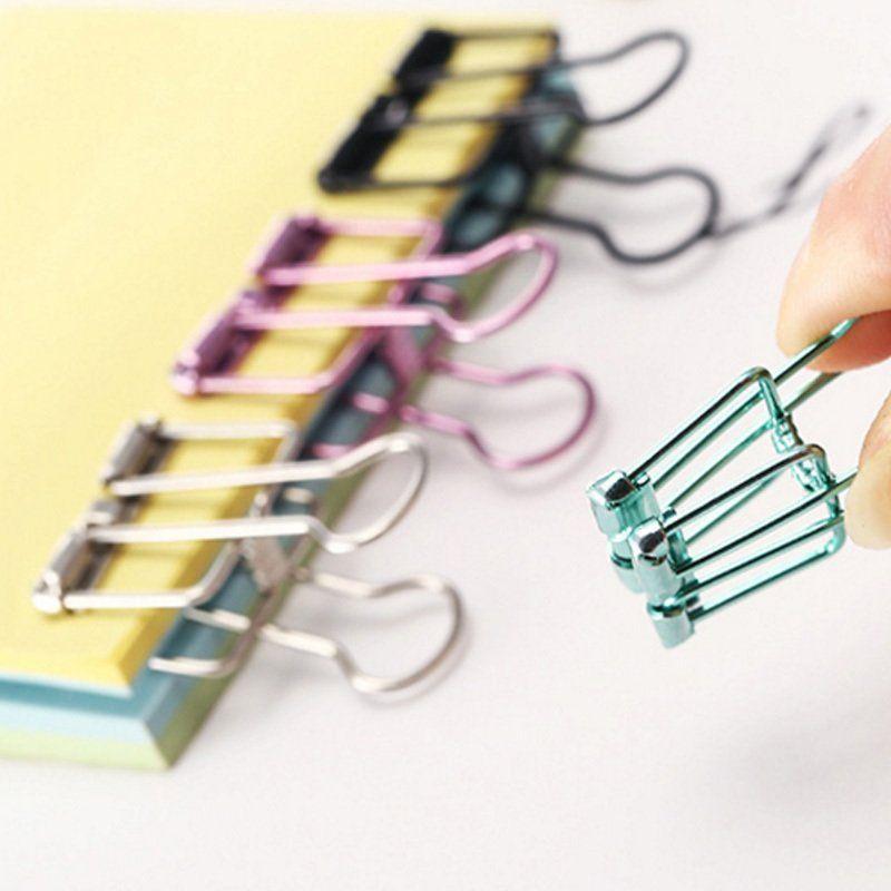50 Pz. Novità tinta unita Scava fuori il metallo Raccoglitore di clip Note Lettera Clip di carta in grandi dimensioni 95 * 50mm