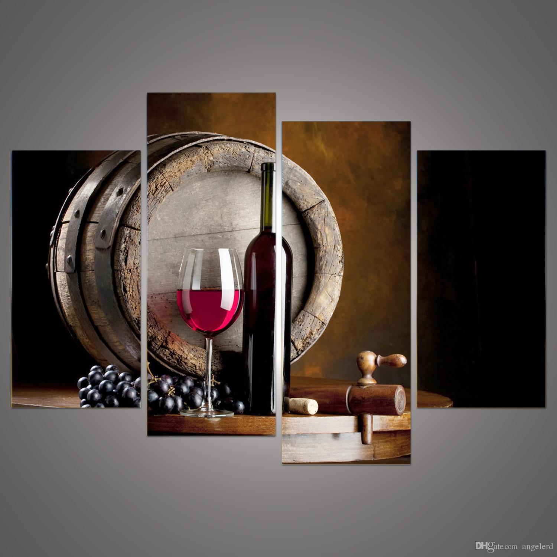Großhandel Moderne 4 Panels Gerahmte Stillleben Trauben Und Wein Flasche  Drucke Auf Leinwand Malerei Flat Barrel Wandkunst Für Esszimmer Bar Decor F  / 001 ...
