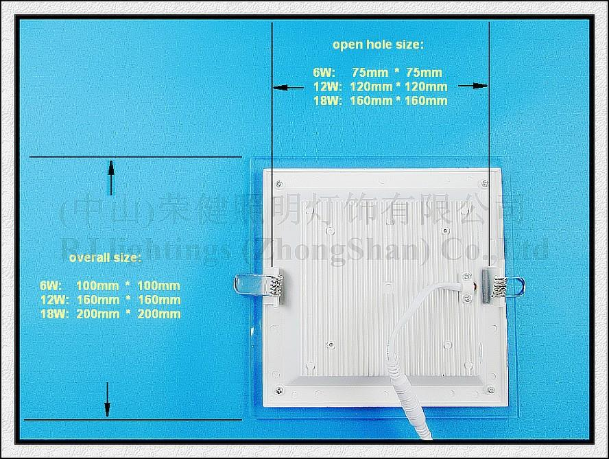 incasso lampada della luce di pannello del soffitto LED con vetro 18W / 12W / 6W SMD 5730 ROHS LED CE giù quadrato da incasso luce e alluminio vetro rotondo