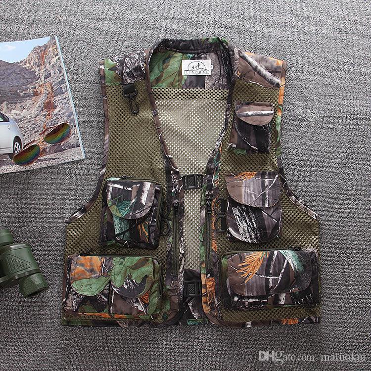 Wholesale-summer men's plus size fishing jacket Camouflage mesh vest outdoor casual multi-pocket waistcoat men Hot