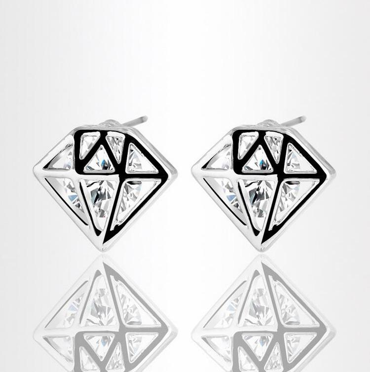 18KGP Zircon Stud Earrings Jewelry Factory Wholesales High Quality Gemstone Shape Stud Earrings For Women Love Gift Jewelry 82E20