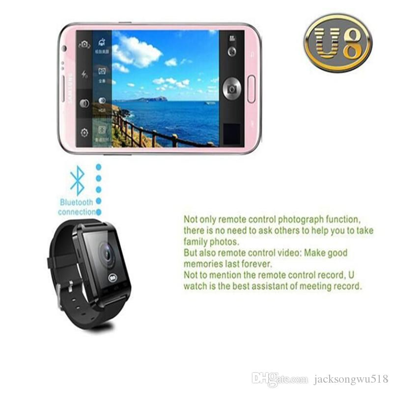 2016 Hot Sale Bluetooth Smartwatch U8 Watch Smart Watch Wrist Watches for Samsung S4/S5/Note 2/Note 3 HTC Android Phone Smartphones