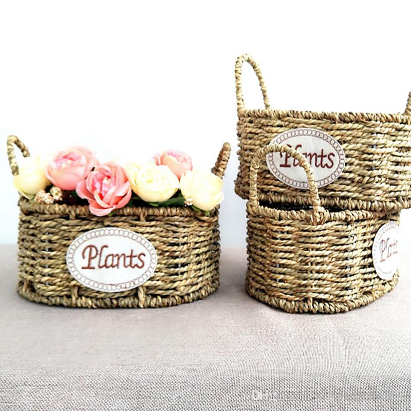 2018 Handmade Woven Straw Storage Basket Rattan Flower Plant Pot Dirty  Laundry Toy Cosmetic Home Organizer Wedding Decoration From  Xiaopianjidaopian, ...