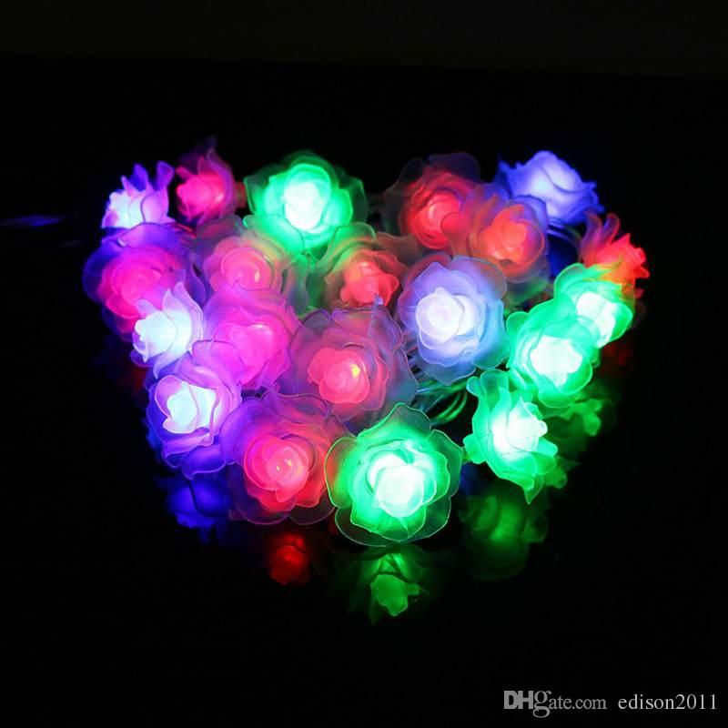 LED String Lighting Nightlight 4M 20Leds Rose Flower US/EU Plug Indoor Outdoor Party Wedding Christmas Fairy Decoration Light