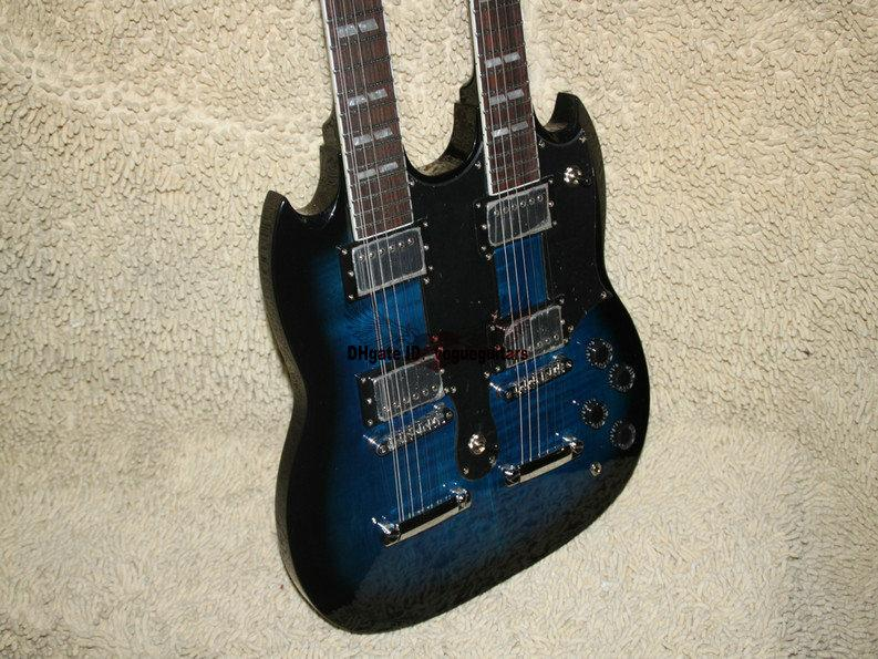 Musical instruments Newest Bule Double Neck Electric Guitar High Quality