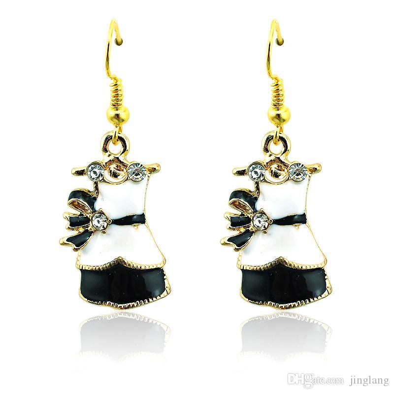 Alta calidad chapado en oro encantos pendientes ganchos de acero inoxidable cuelgan 2 estilo de esmalte vestido para mujer joyería