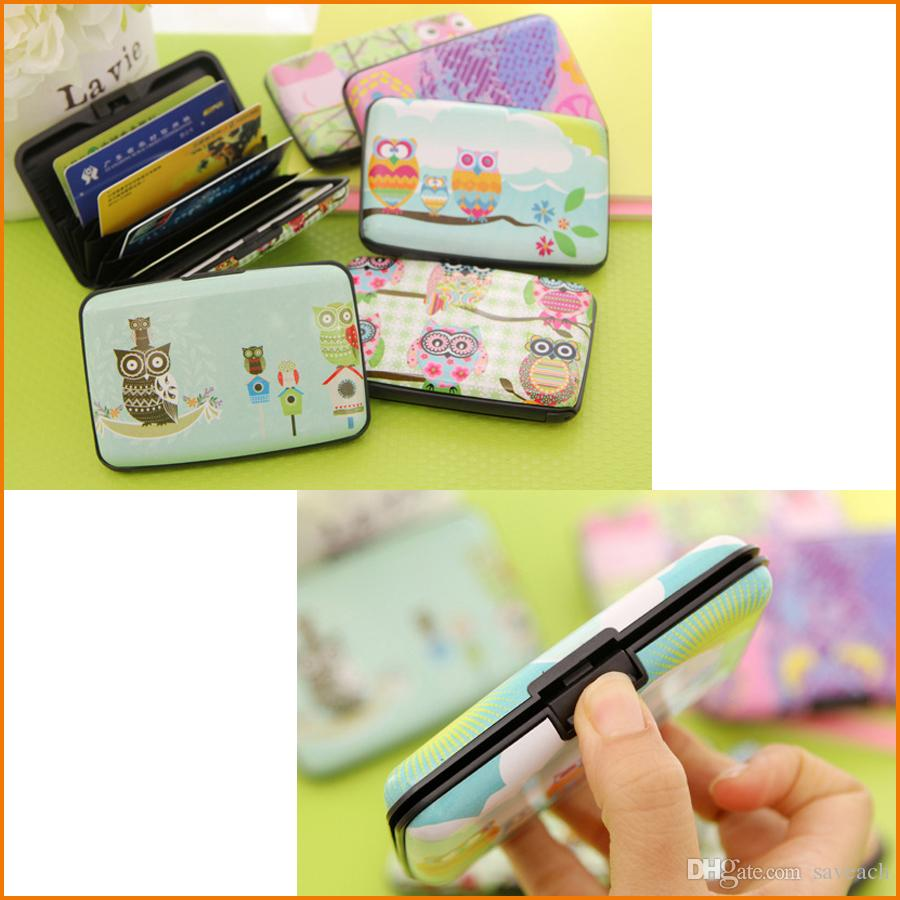 Cartoon Owl Style ID Credit Card Box Case, Creative Card Holder ...