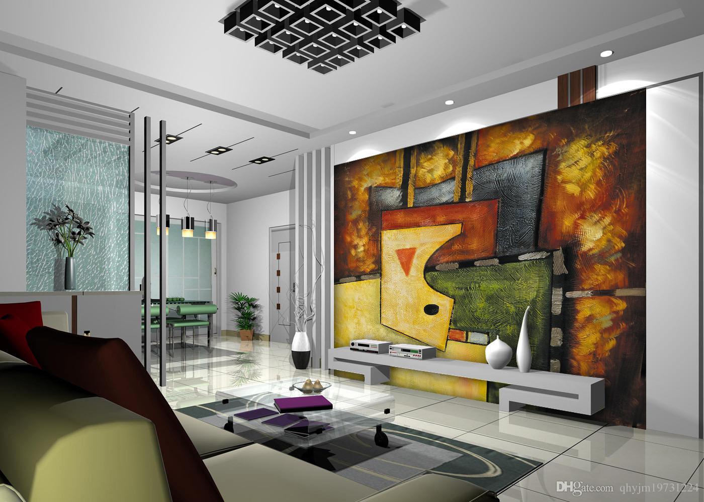 Compre Continental Pintura Mural De Papel De Parede Resumo O  -> Mural Parede Sala