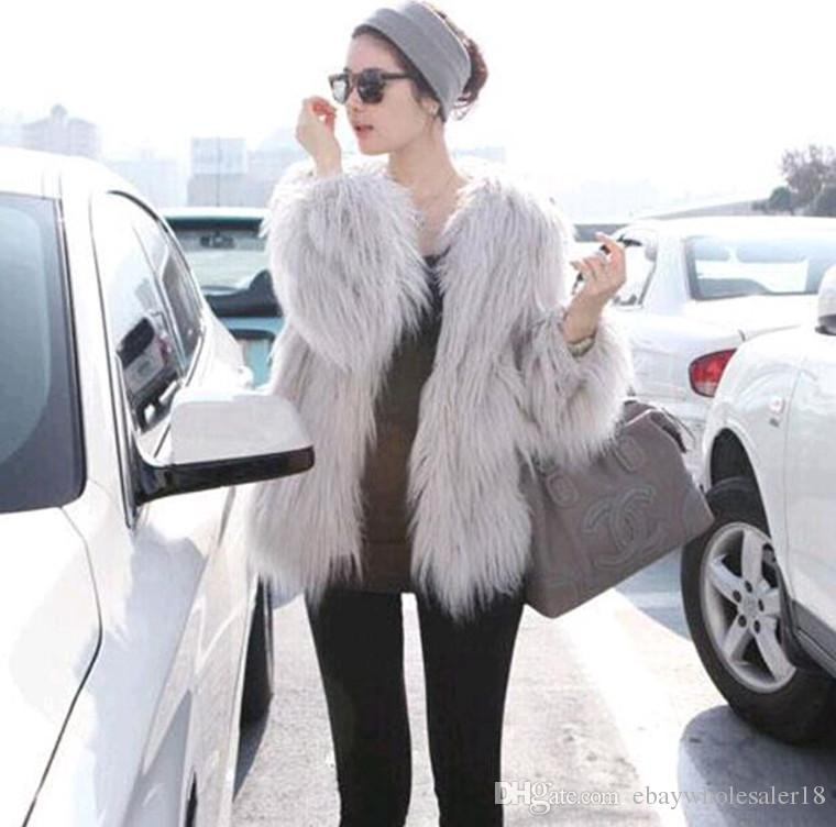 2018 Chic Designer Women Pink Fur Coats Long Hair Furry Outerwear ...