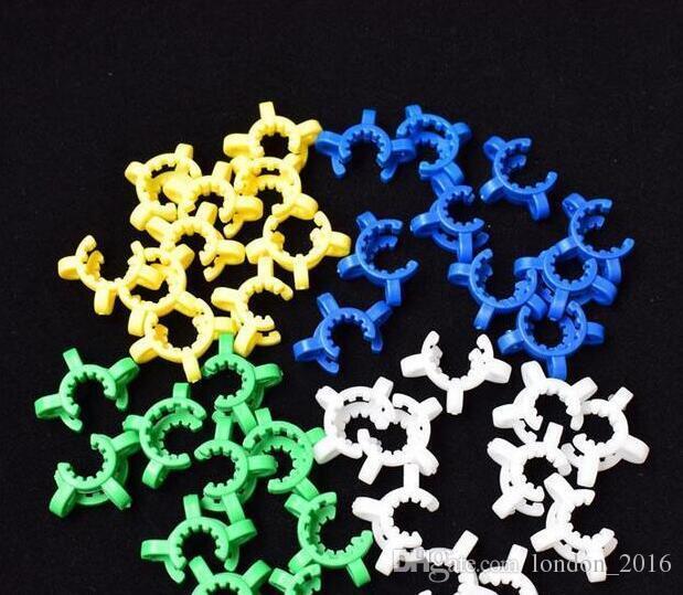 2018 NOVO 10mm 14mm 19mm conjunta Keck Clipe De Plástico Laboratório / Clamp Braçadeira de Laboratório para o Vidro Bong adaptador De Vidro Coletor de Néctar