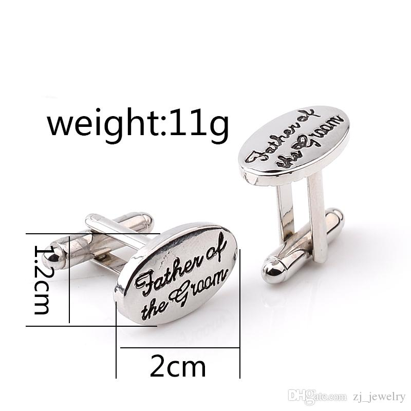 Father's Wedding Gift Tuxedo Stylish Cufflinks Silver Plated Oval Handstamped Father of the Groom/Bride French Shirt Cuff Links