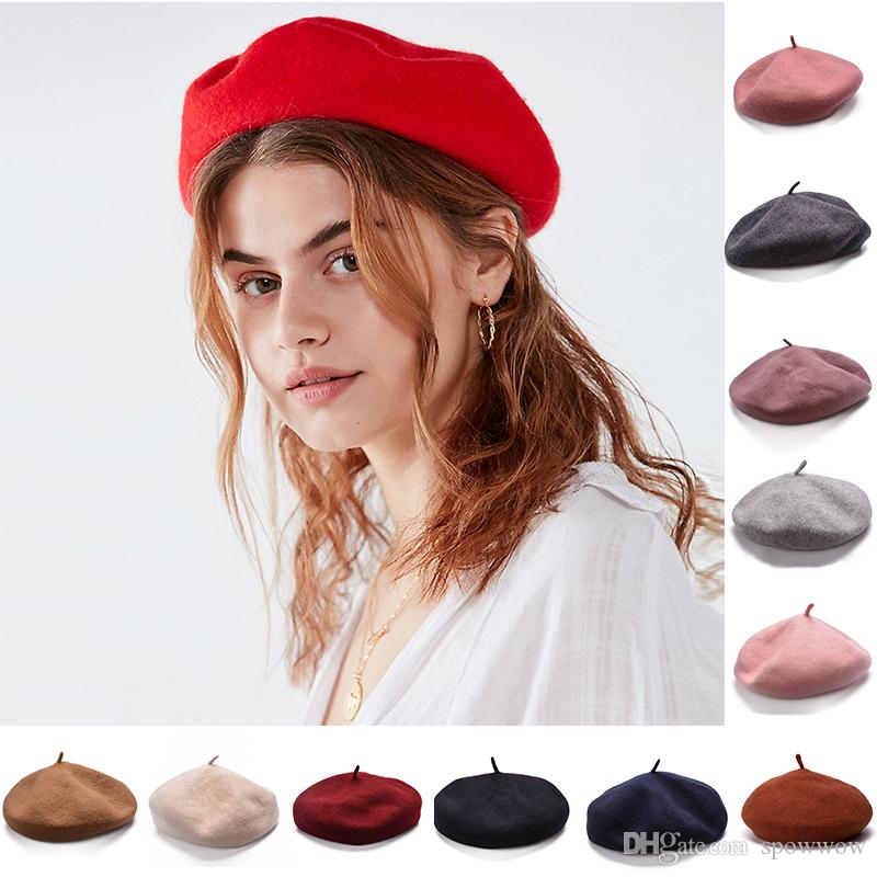 Girls French 100% Wool Artist Beret Flat Cap Winter Warm Stylish Painter  Trilby Beanie Hat Y63 UK 2019 From Spowwow 577455a6be6