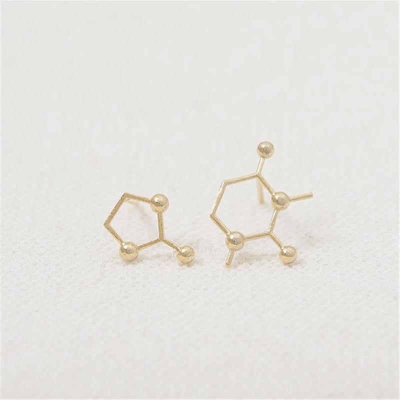 2016 nouvelle mode boucles d'oreilles, éléments scientifiques molécules bouton boucles d'oreilles en gros livraison gratuite femmes vacances meilleur cadeau
