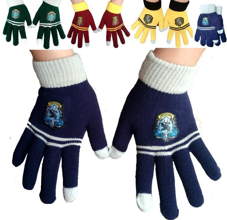 Harry School Gryffindor Slytherin Ravenclaw Hufflepuff Guantes Insignia Five Fingers Gloves Cosplay Potter Fans Regalo de Navidad Envío de la gota