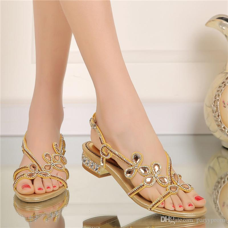 Low Heel Rhinestone Sandals Ladies Summer Shoes Crystal Flower Wedding Party Shoes Purple Gold Black Color Large Size 9 10