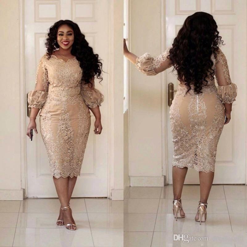 Madre elegante oro della sposa veste pizzo applique 2019 Illusione 3/4 manica lunga del tè di sera di lunghezza abiti da cocktail Plus Size Prom Dress