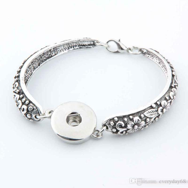 New ancient silver bracelet carved Noosa Match DIY personalized snap button anti-fatigue Valentine Jewelry