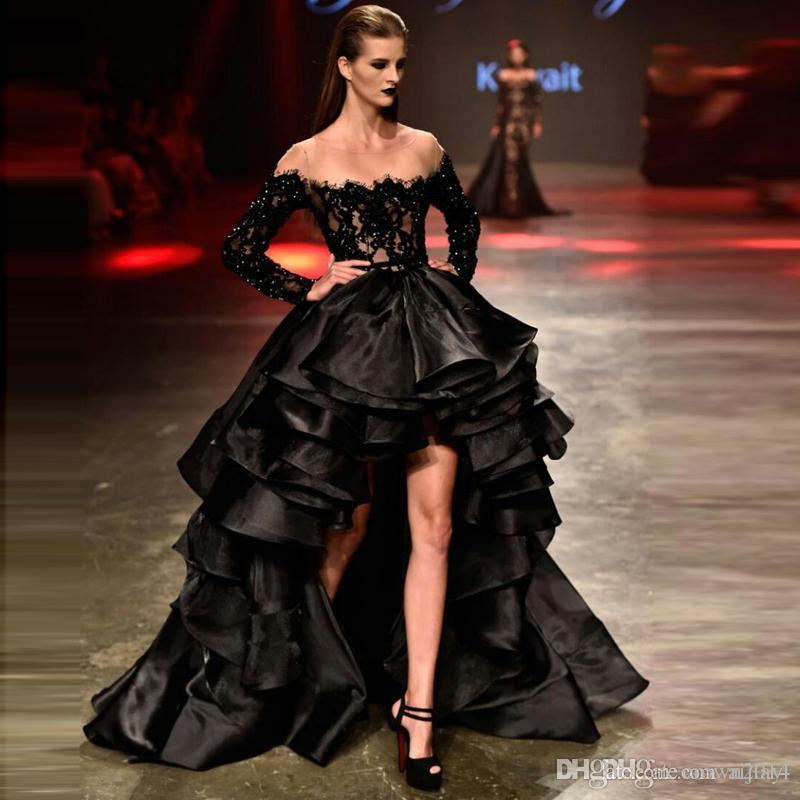 Charming Black Lace High Low Prom Dresses 2019 Beaded Organza Ruffles Long Sleeve Sheer Neck Tiered Formal Evening Prom Wear Gowns