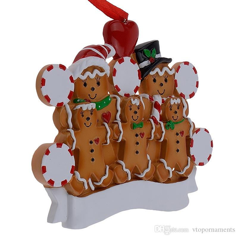Maxora Gingerbread Family Of 5 Resin Hand Painting Christmas Ornaments With Red Apple As Personalized Gifts For Holiday Party Home Decora