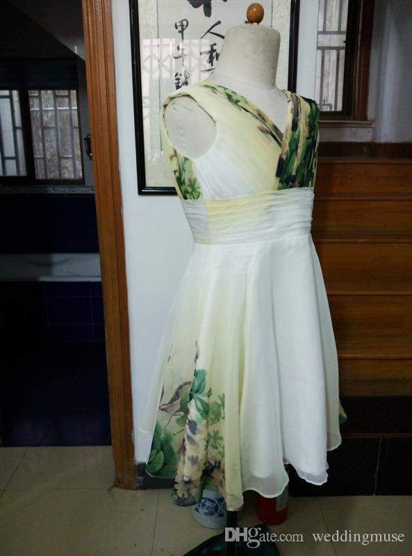 New Flower Girl échantillon réel pas cher col en V manches en mousseline ligne avec des fleurs forme filles Pageant Robes d'anniversaire d'enfants Robes