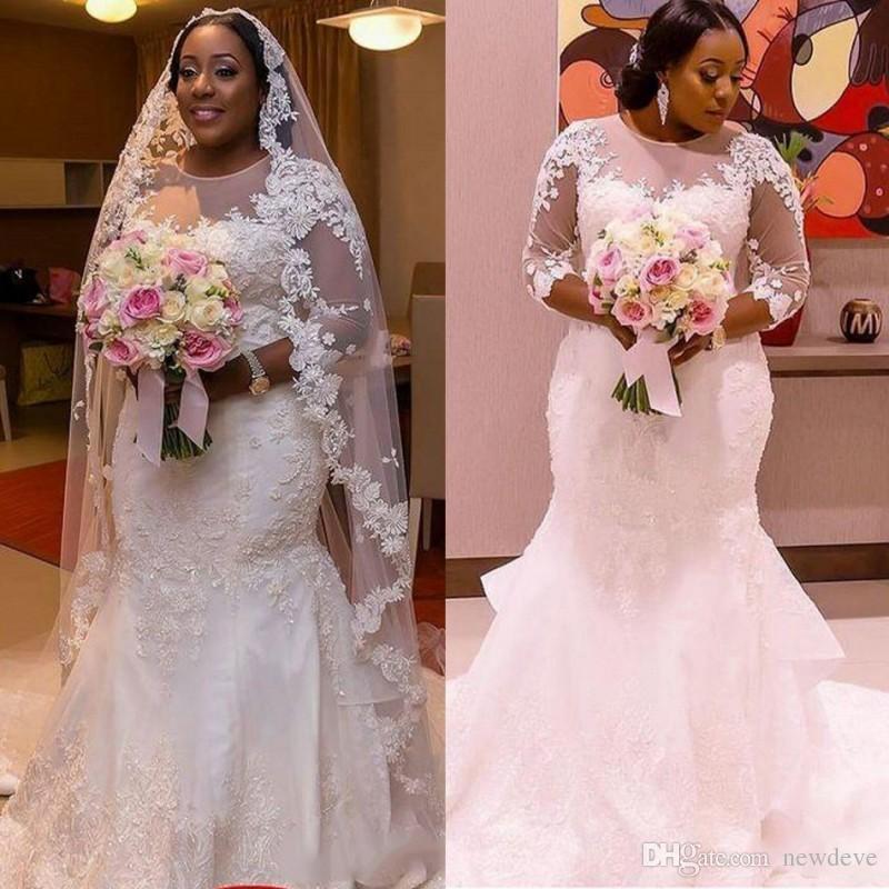 2017 Vestidos de novia de la talla de los vestidos de boda del tamaño más grandes con los vestidos nupciales escarpados de la sirena del cordón de ...