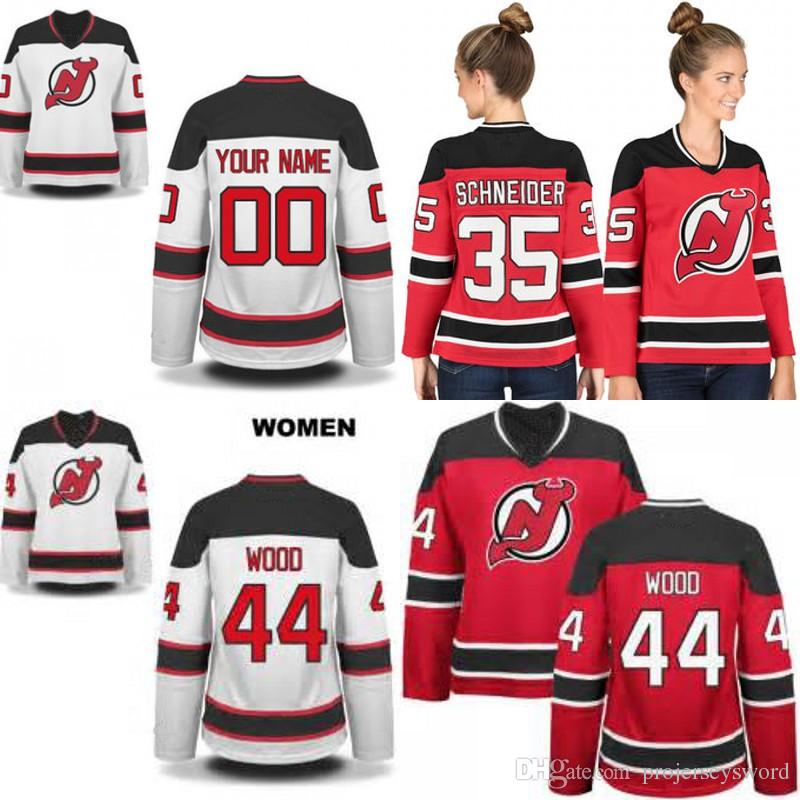competitive price 7da8e 3864d Lady New Jersey Devils Jersey 1 Keith Kinkaid 6 Andy Greene 25 Mirco  Mueller 35 Cory Schneider 44 Miles Wood Custom Hockey Jerseys