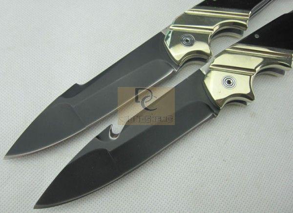 Рэмбо большой складной нож 9cr18mov черный лезвие латунь+Рог ручка с кожаной оболочкой для охоты кемпинг EDC инструмент