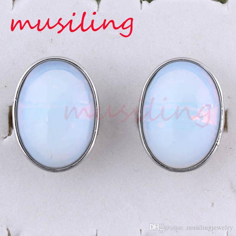 Charms ovale cabochon in pietra naturale anelli regolabili ametista avventurina ecc accessori in argento placcato gioielli moda reiki amuleto