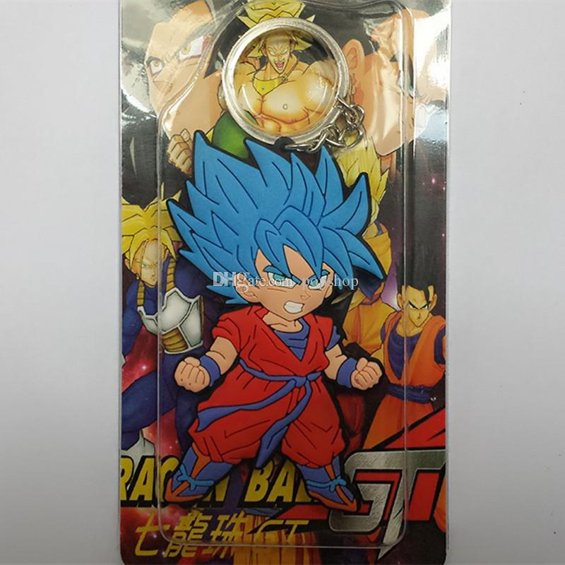 Dragon Ball Z Keychain Super Saiyan Goku Fashion Cartoon Anime Car Keychain PVC Action Figure Toys Silicone Pendant IN Box