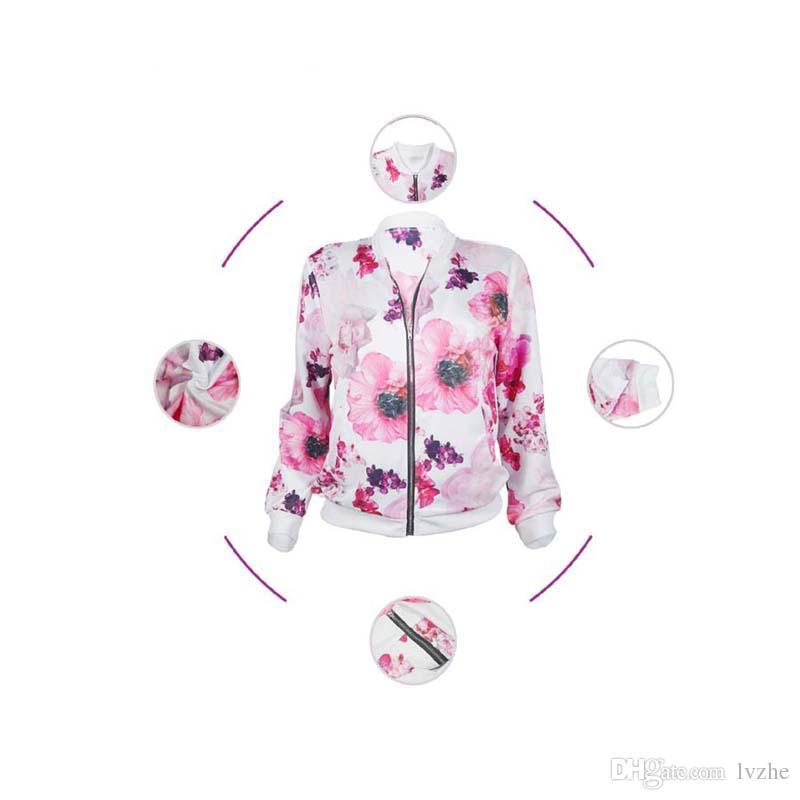 Cappotto sottile del rivestimento del baseball della chiusura lampo del fiore stampato manica lunga delle signore delle nuove donne di modo Magliette i 4 dimensioni