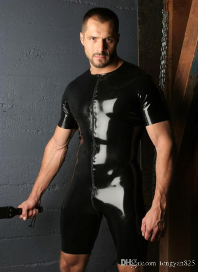 4a13b9e4375 Sexy GAY Men s Bondage Fetish Black Stretch PVC Look Latex Spandex Playsuit  L924
