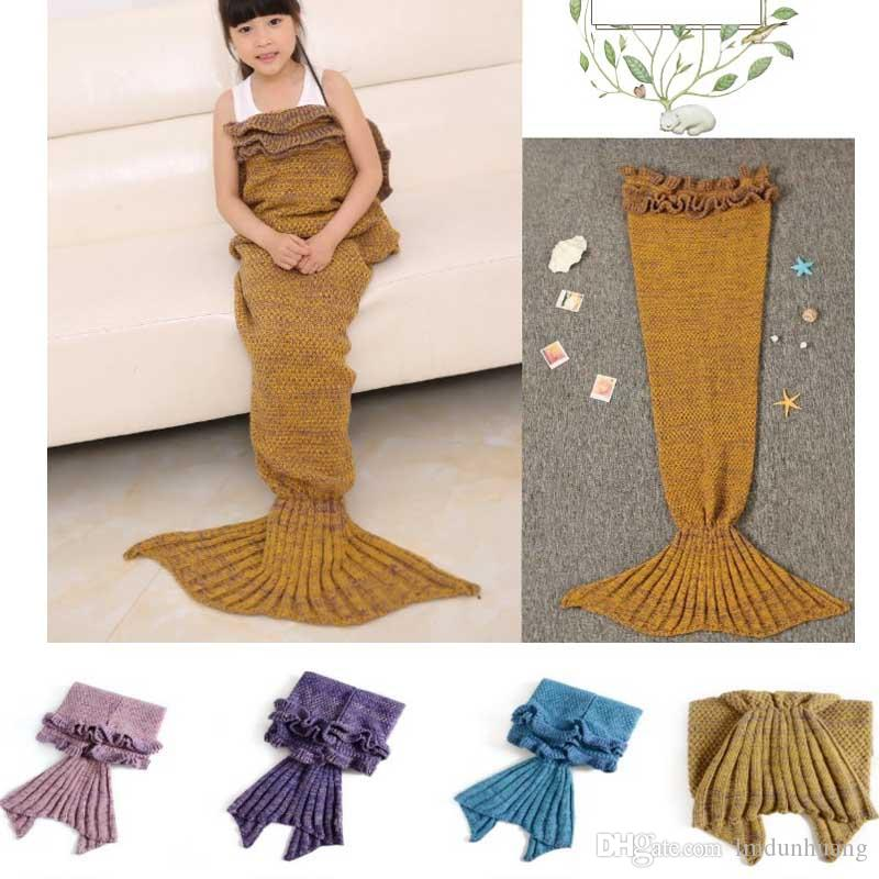 New Arrival Lotus Leaf Blankets For Beds Sofa Sleeping Wrap Mermaid Fish Tail Handmade Knitted Blanket Baby Children Swaddle Kids Best Gifts
