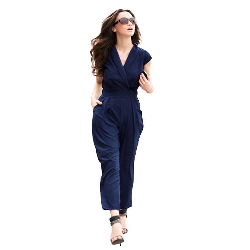 0a5c67df8d3f Wholesale 2017 Sexy Jumpsuits Summer Bodysuit Women Short Sleeve Pocket V  Neck Side Zipper Fashion Catsuit Office Lady Playsuit Plus Size UK 2019  From ...
