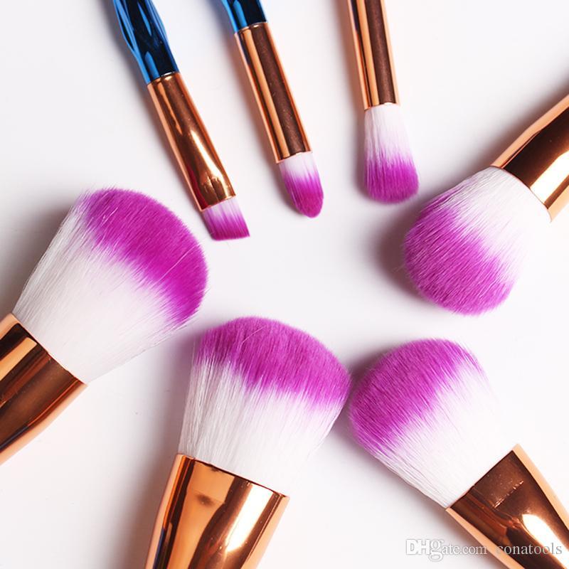 HOT Mermaid Unicorn Screw Diamonds Gourd Makeup Brushes Sets 3D Colorful Professional Brushes Foundation Blush Cosmetic Brush Set Kit Tools