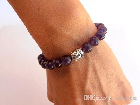 SN0561 Mode Stein Armband Frauen Männer Amethyst Buddha armband Amethyst Schmuck Lila Yoga armband Freies Verschiffen
