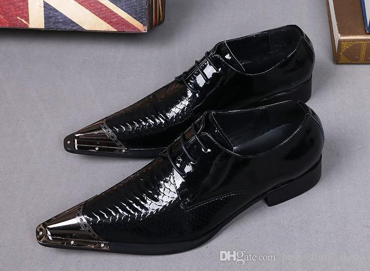 Scarpe da uomo in pelle verniciata nera Scarpe da sposa classiche Scarpe stringate uomo Scarpe italiane