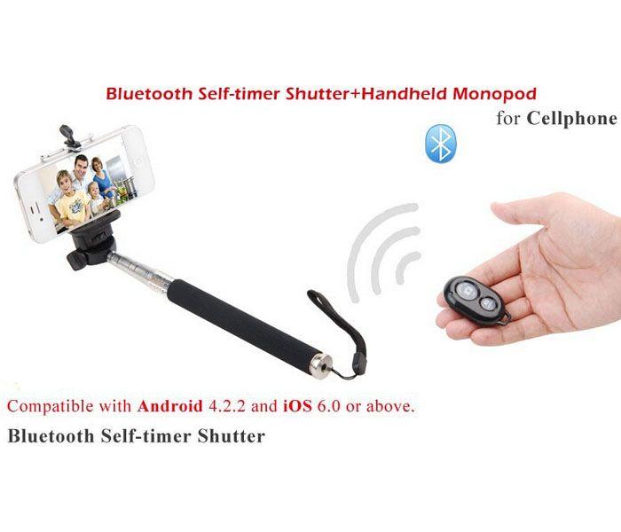 Ausziehbarer Selfie Einbeinstativ Z07-1 selfie Stativ + Bluetooth-Fernbedienung Kamera-Shutter + Telefonclip Handheld Wireless Self Timer Sticks