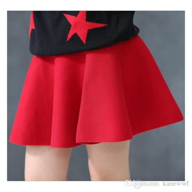 2016 bambini ragazza vita gonna bambini lana maglia gonna rossa nera bambino tutu gonna pettiskirt tutu gonna bambini vestidos infantili