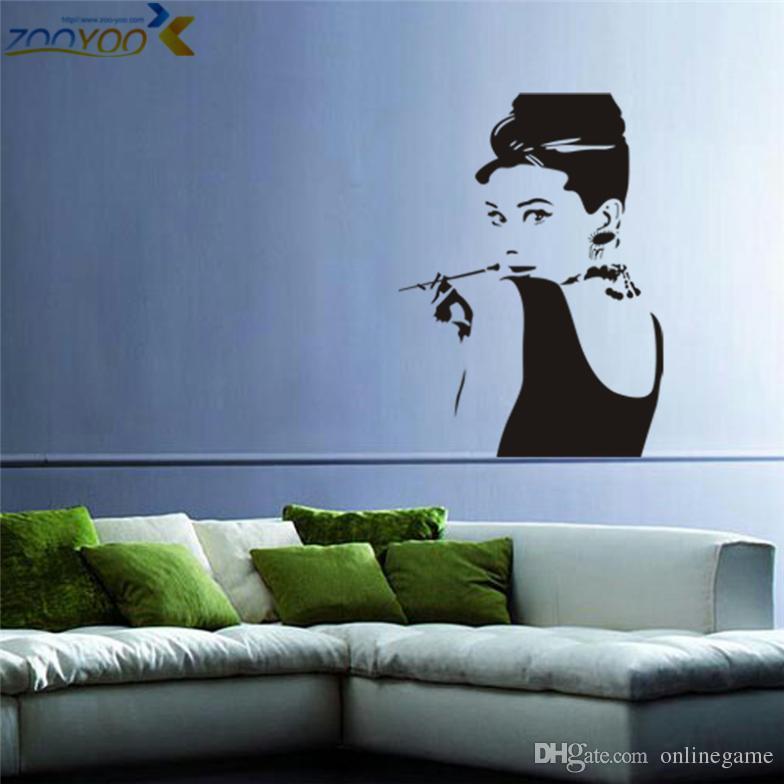 Acquista Adesivi Da Parete Audrey Hepburn Zooyoo 8107 Modelli Adesivi  Murali Camera Da Letto Decorazioni La Casa Fai Da Te Vendita Calda 2015  Arte ...