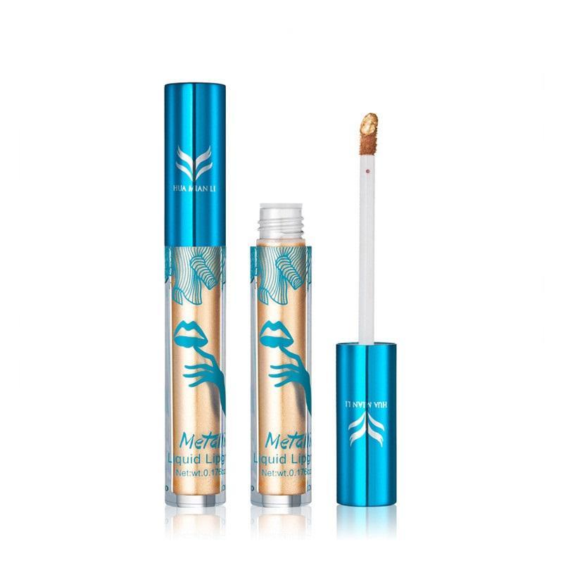 HUAMIANLI Shimmer Liquid Lip Gloss Matte Batom Makeup Metallic Lipstick Long Lasting Lips Moisturizer Glitter Lipgloss + Gift