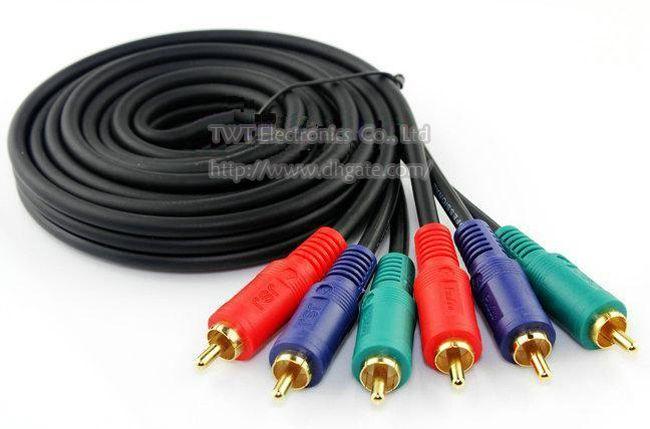 Vorgerückter Vergoldeter DREI RCA-Stecker zu DREI RCA-Stecker Audio-AV-Verbindungskabel 1.8M / Free Verschiffen /