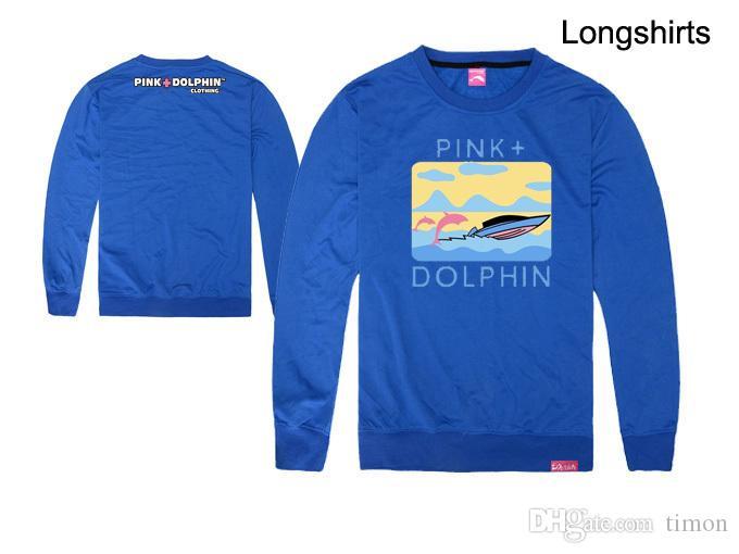 Los hombres de moda delfín rosado camisetas Hip Hop impresión de la ropa de algodón tops de otoño de manga larga marca tee o-cuello superior envío gratis