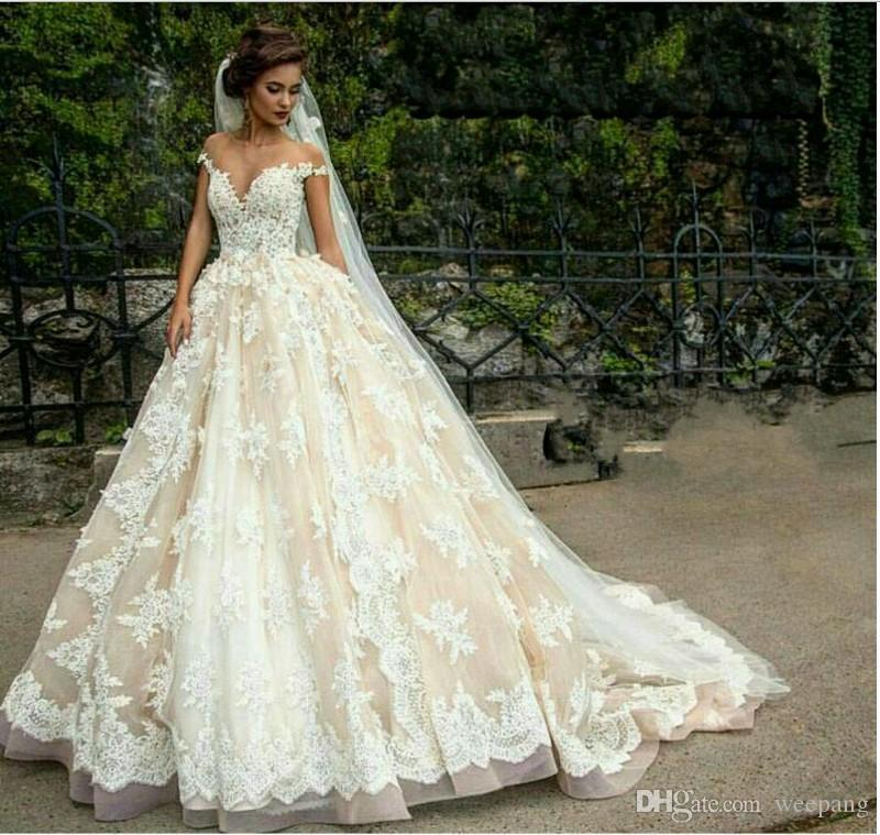 Vintage Wedding Dresses Perth: 2017 New Lace Applique Wedding Dresses Ball Gown Sheer