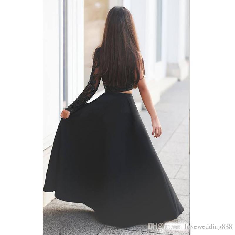 Güzellik Kız Pageant Törenlerinde 2017 Benzersiz Tasarımcı Siyah Boncuk Dantel Saten Kızlar Parti Örgün Elbise Doğum Günü Uzun Kollu