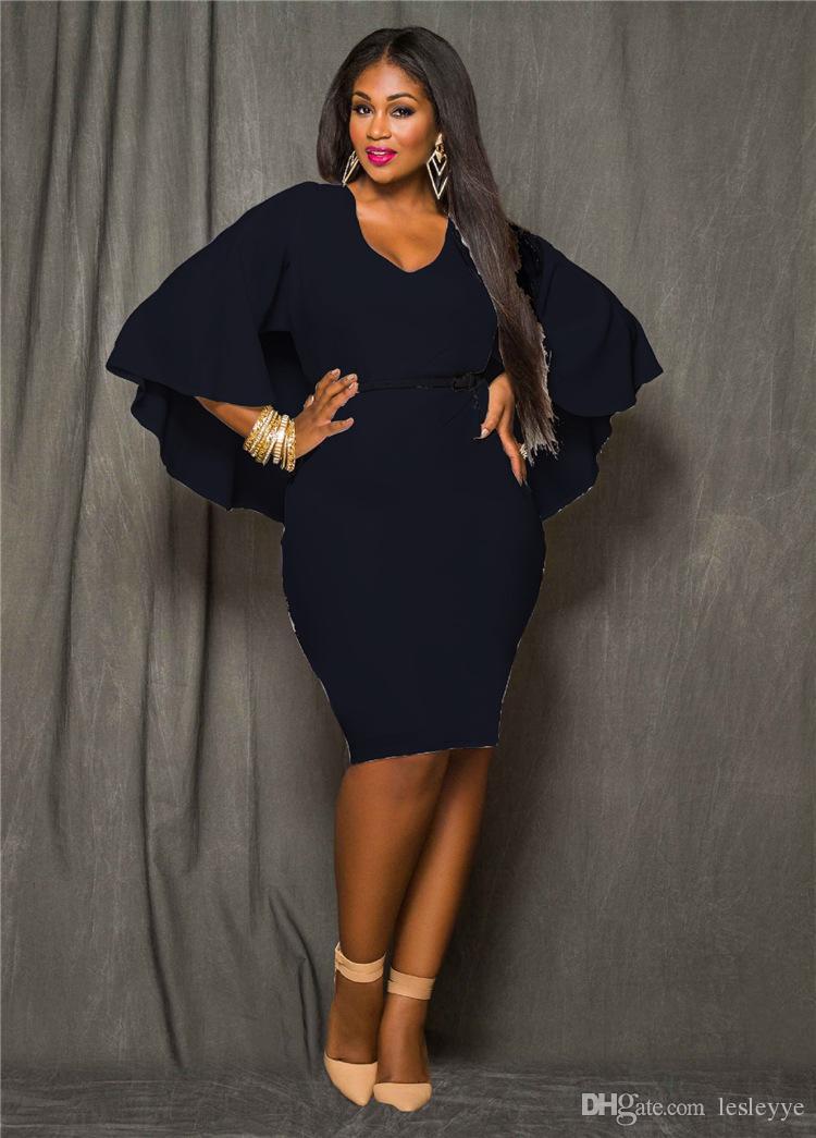 PPlus Size Cape Dress Fashion Women O Neck Poncho Cloak Dress Batwing Sleeve Bodycon Sexy Knee Length sexy backpack buttock big yards dress