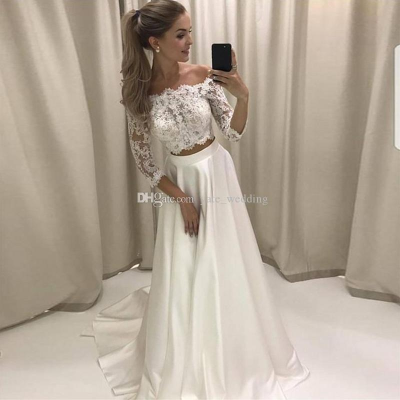 b6a7e31df25 Discount Two Piece Wedding Dresses Off Shoulder 3/4 Long Sleeves Lace Satin  Boho Bridal Gowns Cheap Beach Wedding Dresses Elegant Wedding Gowns Taffeta  ...