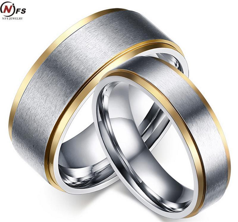 2018 Wholesale High Quality Simple Titanium Steel Couple Rings Gold
